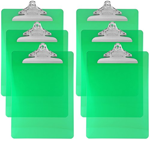Trade Quest Plastic Clipboard Transparent Color Letter Size Standard Clip (Pack of 6) (Green)