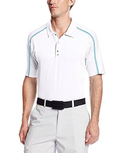 adidas Golf Men's PUREMOTION Tour climacool Raglan Flex Rib Polo Shirt, White/Bright Cyan, Large