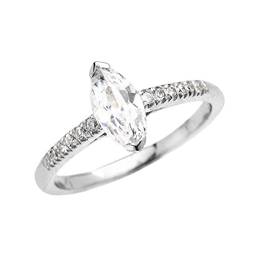White Gold 1 Carat Marquise (10k White Gold 1 Carat CZ Marquise Solitaire Proposal Engagement Ring (Size 10))