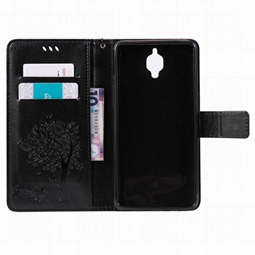 Custodia OnePlus 3 / OnePlus Three Cover Case, Ougger Alberi Gatto Printing Portafoglio PU Pelle Magnetico Stand Morbido Silicone Flip Bumper Protettivo Gomma Shell Borsa Custodie con Slot per Schede