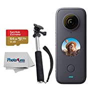Insta360 ONE X2 Pocket Camera + SanDisk 64GB Extreme Memory Card +Handheld Monopod – Action Camera Starter Kit