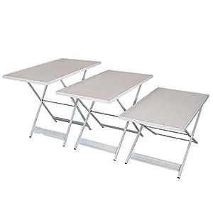Mesa multiusos plegable–Mesa de trabajo Mesa fiesta Mesa 3metros (3x 1metro)–Altura regulable 3piezas)