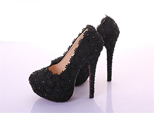 Black LL175 Evening 14cm Heel Miyoopark Women's Formal Pumps Flowers Party Shoes CAtqp