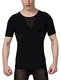 Aieoe Men Compression Shirt Chest Slimming Body Shaper Undershirt Hook & Eye Closure