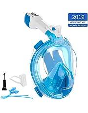 VILISUN Vollmaske Schnorchelmaske Tauchmaske Vollgesichtsmaske mit 180° Sichtfeld, Dichtung aus Silikon Anti-Fog und Anti-Leck Technologie für Alle Erwachsene und Kinder (Blau2 für Kinder, XS)