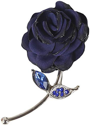 Flairs New York Gentleman's Essentials Premium Handmade Flower Lapel Pin Boutonniere (Blue Enchanted Rose)