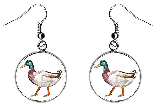 Mallard Duck Silver Hypoallergenic Stainless Steel Earrings