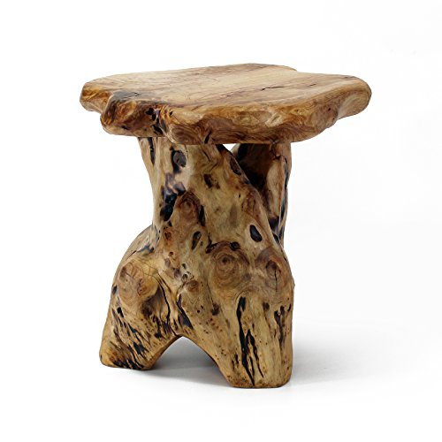 WELLAND Mushroom Seat Stool, Cedar Wood Flower Root/Stand
