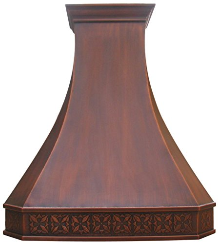 Copper Best H3 362742S Island Copper Range Hood with Inserts 36 inch - Island Hood Liner