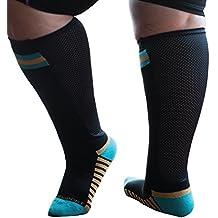 Xpandasox Women's Plus Size/Wide Calf Cotton Blend Sport Socks Black Turquoise