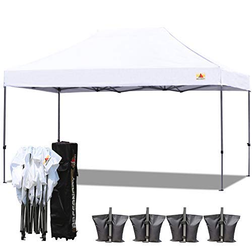 ABCCANOPY (18+ colors) 10x15 Pop up Tent Instant Canopy Commercial Outdoor Canopy with Wheeled Carry Bag Bonus 4x Weight Bag (white)