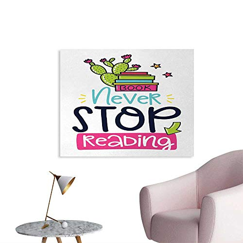 Tudouhoho Book Wall Poster Vivid Color Cactus and Stars Behind Books with Inspirational Print Never Stop Reading Mural Decoration Multicolor W36 xL32 (Spongebob Mural)