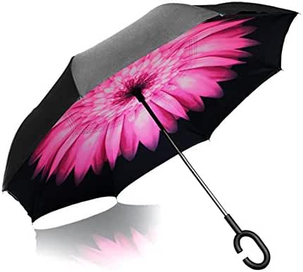 Inverted Umbrella, Elover Double Layer Reverse Umbrella for Car Rain Outdoor