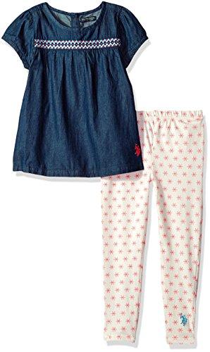 U.S. Polo Assn. Girls' Little Fashion Top Set, Cap Sleeves Patterned Legging Vanilla, -
