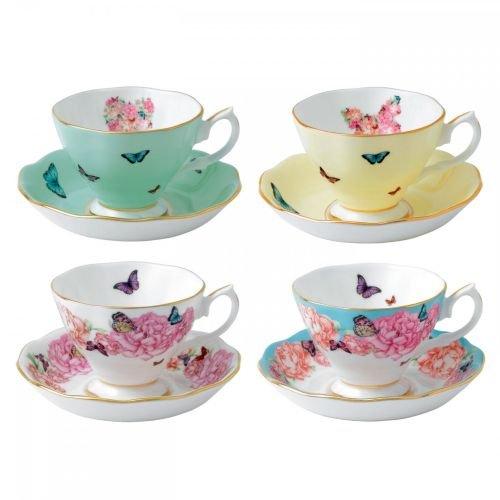 Royal Albert 40002650 Miranda Kerr Teacups and Saucers (Set of 4), Multicolor