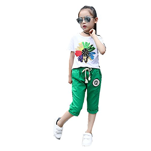 ftsucq-girls-short-sleeve-shirt-top-with-middle-pantstwo-pieces-setsgreen-130