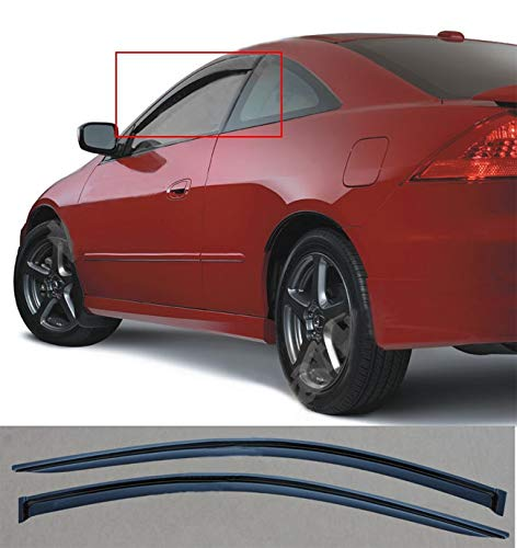 JJ 92349 For 2003-2007 Honda Accord 2-Door Coupe Smoke Wind Sun Rain Guard Vent Shade Deflector Window Visors Out Channel Style - Honda Accord 2 Door Coupe