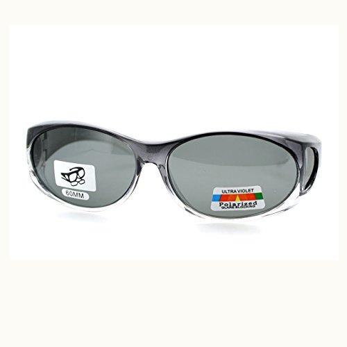 Unisex Fit Over Glasses Polarized Sunglasses Oval Frame Ombre Color Black Lens
