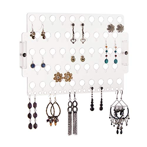 (Angelynn's Wall Mount Earring Holder Organizer Storage Rack, Earring Angel Clear)