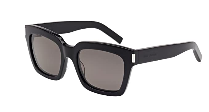 87b815bc31 Image Unavailable. Image not available for. Color  Saint Laurent Bold 1 002  Black Smoke Bold 1 Square Sunglasses ...