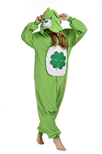 Newcosplay Polar Fleece Onesies Pajamas (M, Green (Care Bears Halloween Costumes Adults)