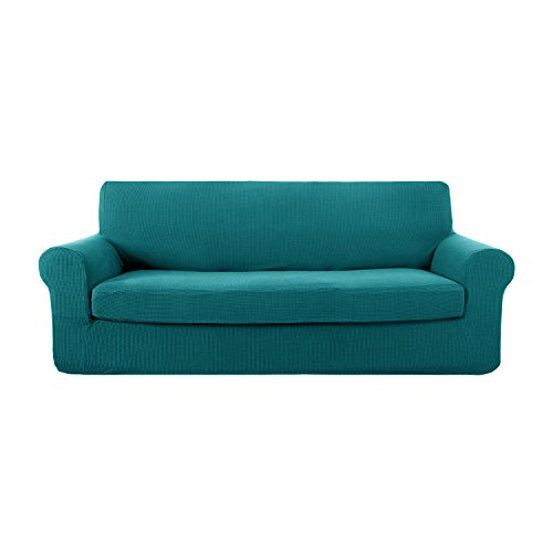 Deconovo 2-Piece Jacquard Spandex Couch Covers Fitted Sofa Slipcovers Set Stretch Sofa Covers for 3 Cushion Couch Turquoise