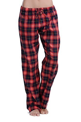 CYZ Women's 100% Cotton Super Soft Flannel Plaid Pajama/Louge Pants-F17017-S