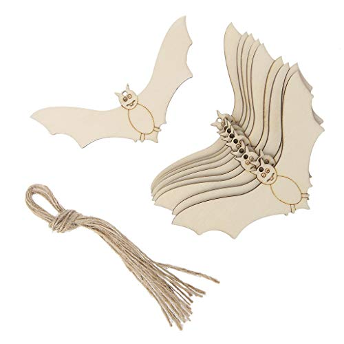 BecauseOf 10 Pcs Halloween Wood Tags, Bat Shape Hanging Tags Home Decoration DIY Craft with Ropes