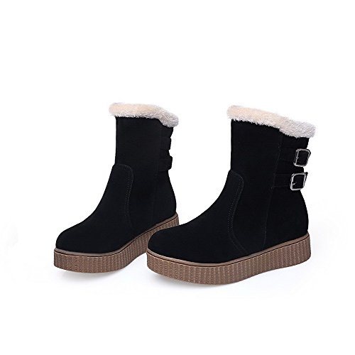 AllhqFashion Mujeres Sin cordones Mini Tacón Gamuza(Imitado) Sólido Caña Baja Botas Negro