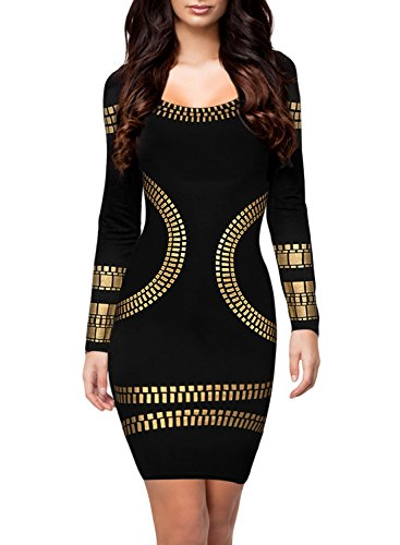 Kafeimali Women's Long Sleeves Kim Egypt Gold Foil Print Cocktail Dress Mini Dress (XL, Black)