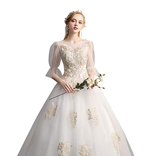 (H.JPT Ball Gown Jewel Neck Floor Length Lace/Tulle/Lace Over Satin Made-to-Measure Wedding Dresses with Appliques,XXL)