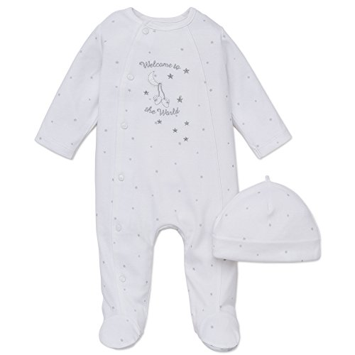 (Little Me Unisex Baby 2 Piece Footie and Cap, Welcome World, White, Newborn)