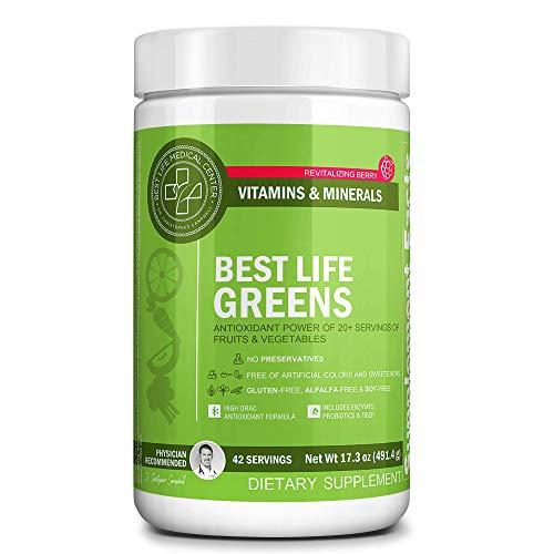 (Best Life Greens Powder | Vegan, Organic, Non-GMO Superfood Mix | Cleanse & Balance with Raw Plant-Based Antioxidant Powder )