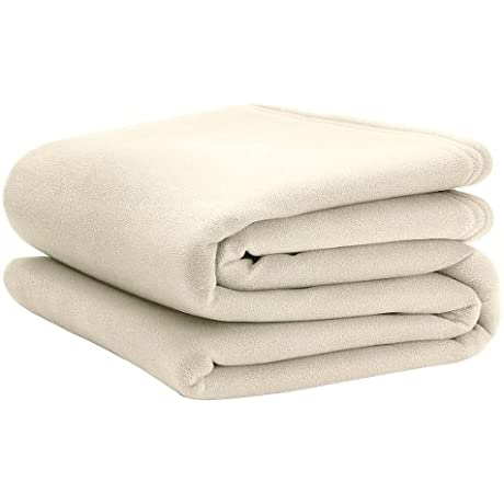 Martex C101173 90 X 90 Queen Polyester Fleece Blanket Ivory