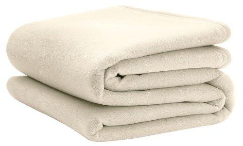 Martex - C101173-90 x 90 Queen Polyester Fleece Blanket, - Martex Blanket Ivory