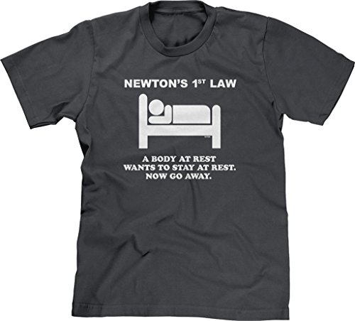 Blittzen Mens Newton's 1st Law - Now Go Away, 2XL, Charcoal
