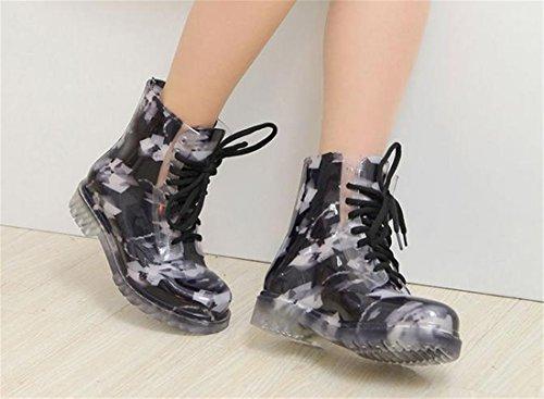 Laessige Martens 8 Eye Schnuerschuhe Regen Stiefel Schuhe der NEUEN Frauen -Assorted Farben Blue Square