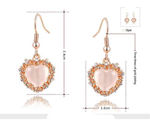 AnaZoz Femme Boucle d'Oreille 18K Plaqué Or Rose Cœur Design Romantique Amour Oxyde de Zirconium Cristal Pendant d'Oreille Fille Pour Elle 3.4*1.6CM