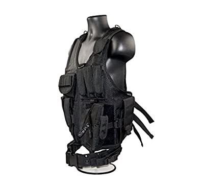 SNIPER Cross Draw Tactical Vest Black, 600D Polyster Oxford