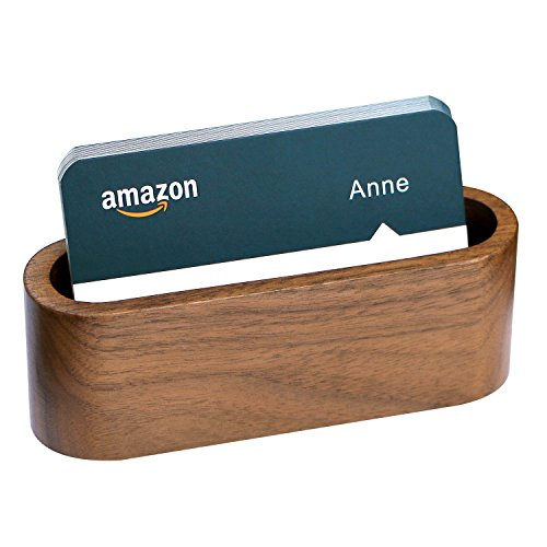 older for Desk Wooden Business Card Case for Office Business Card Stand. (1) ()