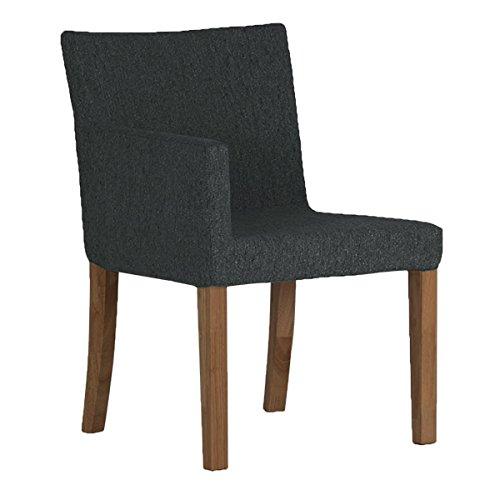 arne ダイニングチェア 北欧 木製 椅子 チェアー 背もたれ 日本製 JOY 【Sサイズ】【右肘タイプ】【ブラウン脚】 NS-7生地 ブラック B0742ZWV2K Sサイズ/右肘タイプ|ブラック ブラック Sサイズ/右肘タイプ