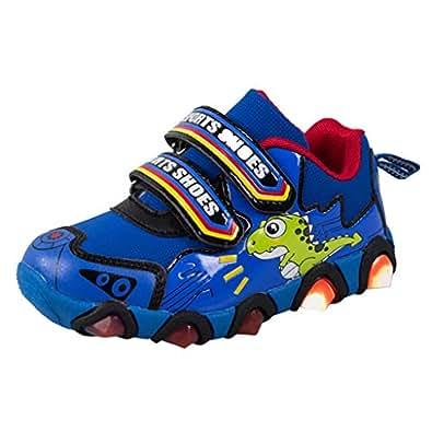 HCFKJ Bebé Niño Niña Invierno Zapatos Botas Lindos Moda Casual Dibujos Animados Dinosaurio Pata LED Luminoso