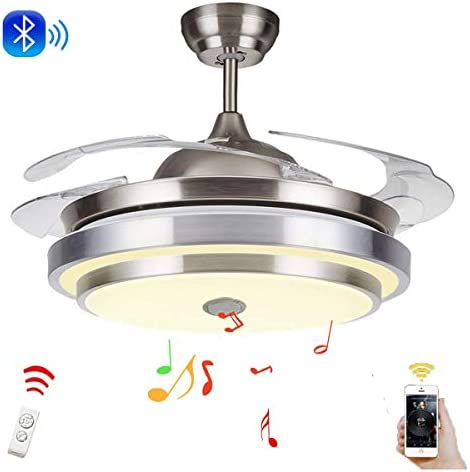 LUOLAX Modern Bluetooth Ceiling Fan Lights Remote Control Upgraded LED Chandelier with Music Player Function for Living Room Bedroom Restaurant 42 Inch-Smart Bluetooth Style 2