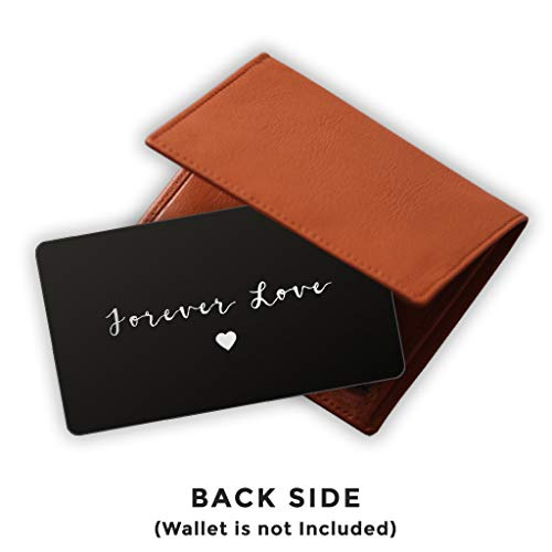 Engraved Stainless Steel Wallet Card Insert - Anniversary Wedding Gift Idea - Unique Mini Love Note for Husband Wife (Black) by PinMaze (Image #1)