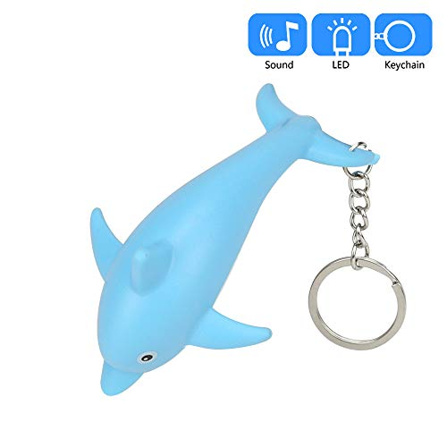 Flash Dolphins (Gbell Girls Dolphin Flashlight Keychain Toys with LED Light and Sound Keyfob,Kids Cute Dolphin Key Chain for Boys Girls Toddler School Bag,Battery Included,1 Pcs)