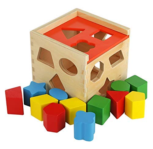 Colorful Shape Cube Sorting Puzzle - Solid Wood Toy with 12 Shapes - Educational Baby Toy for Toddler Boys and Girls Age 18-24 Months, 2 Years and Up - Classic Early Development Shape Recognition Toy (Fine Motor Skill Toys For 1 Year Old)