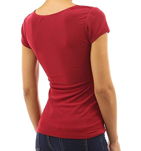 Minetom A Rosso Sexy Moda Piega Donne Corte Design Maniche Scollo Maglietta Cime V Camicetta ZrfanrF