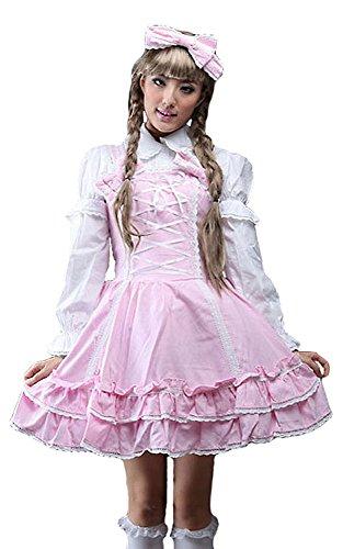 kawaii Kleid Kopf JSK Schnürung Gewächshaus Hemd Weiß mit mit Lolita Pink und Gothic weißes BapWBzAwq