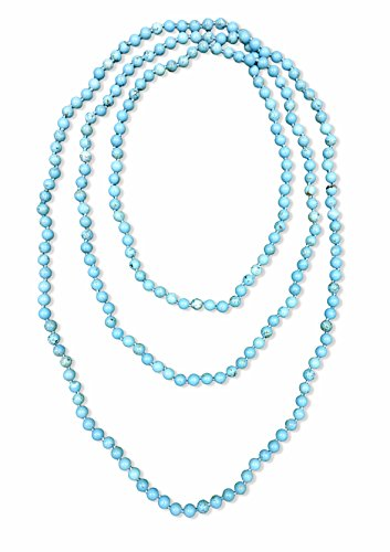BjB 80 Inch Long 8MM Polished Blue Magnesite Turquoise Multi-Layer Long Endless Infinity Beaded Necklace.