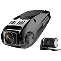 Dual Dash Cam, Full HD 1080P Front and Rear Dash Cam with Night Vision, 170 Degree Wide-Angle, 340 Degree Rotated Rear View Camera, WDR, Loop Recording, Parking Monitor